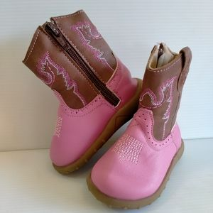 Baxter Baby Toddler Size 2 Cowgirl Western Boots Pink & Brown Booties Zip up